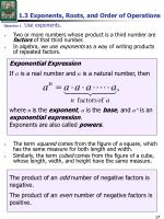 1 3 exponents roots and order of operations
