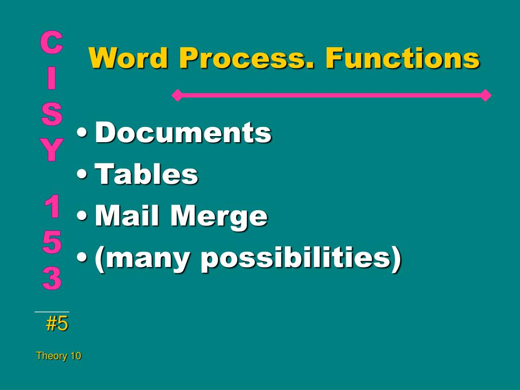 Word Process. Functions