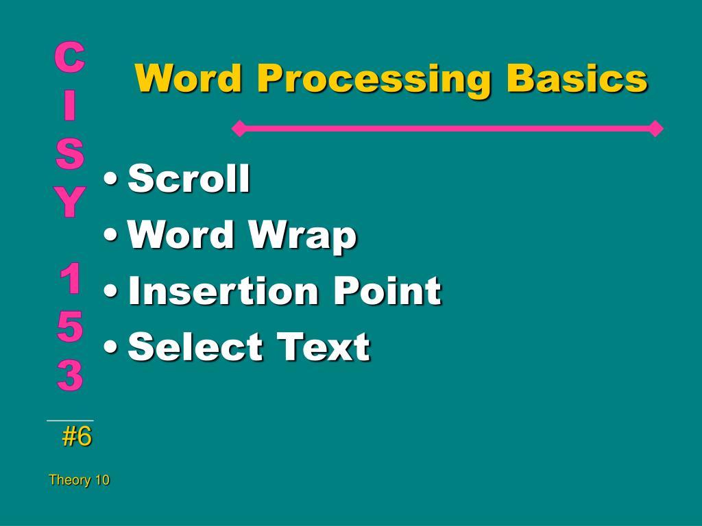 Word Processing Basics