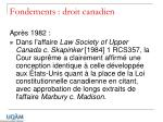 fondements droit canadien