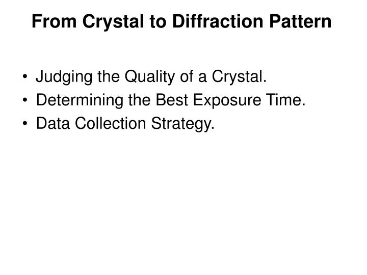 From Crystal to Diffraction Pattern