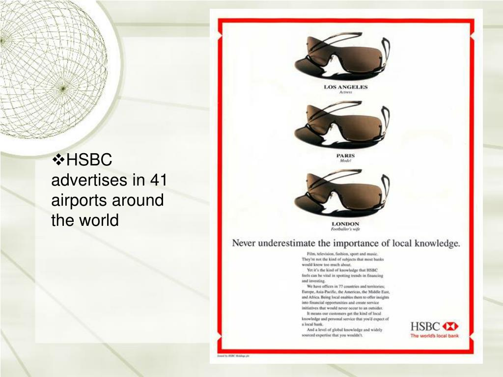 HSBC advertises in 41 airports around the world