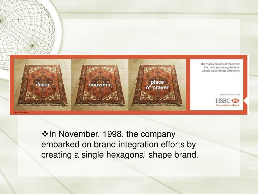 In November, 1998, the company embarked on brand integration efforts by creating a single hexagonal shape brand.