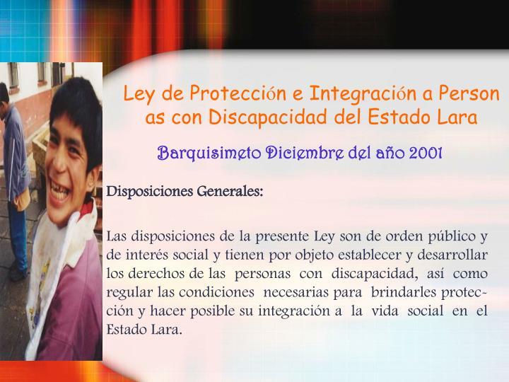 Disposiciones Generales: