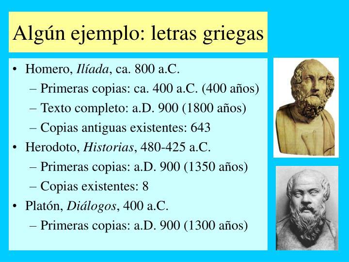 Algún ejemplo: letras griegas