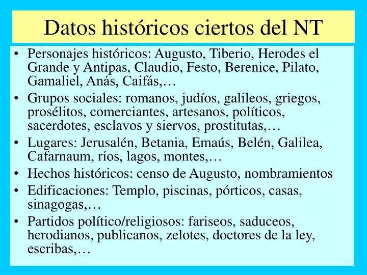 Datos históricos ciertos del NT