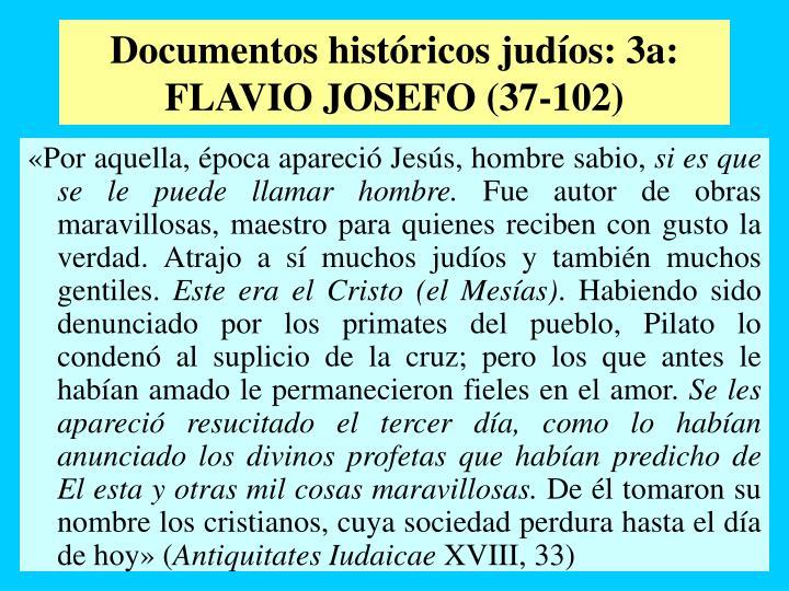 Documentos históricos judíos: 3a: FLAVIO JOSEFO (37-102)