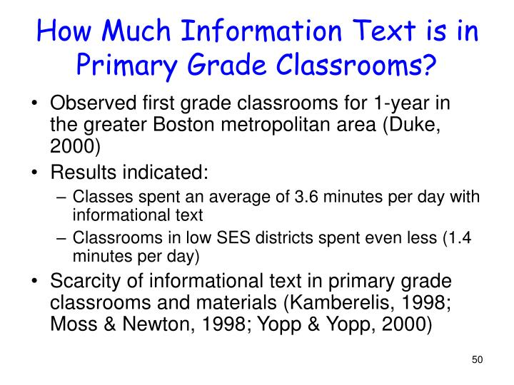 How Much Information Text is in Primary Grade Classrooms?