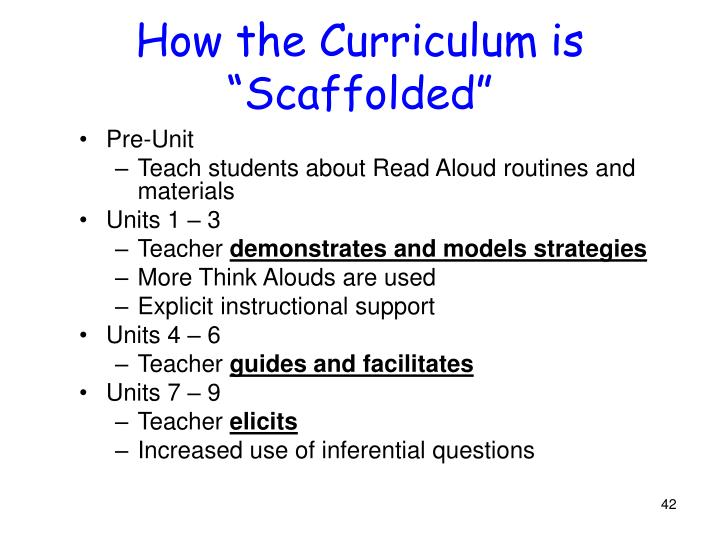 """How the Curriculum is """"Scaffolded"""""""