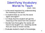 identifying vocabulary words to teach