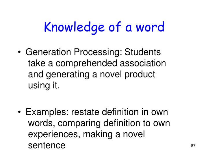 Knowledge of a word