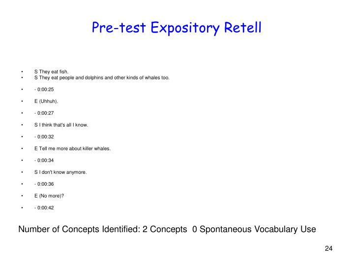 Pre-test Expository Retell