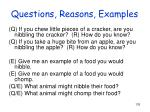 questions reasons examples