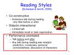 reading styles dickinson smith 1994