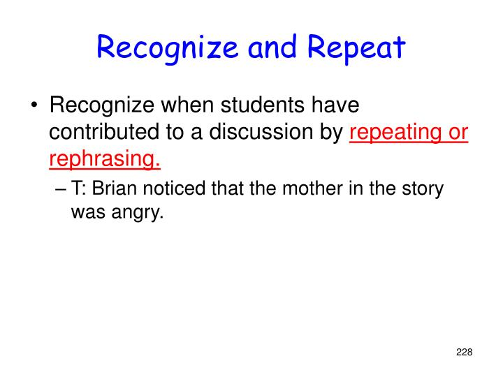 Recognize and Repeat