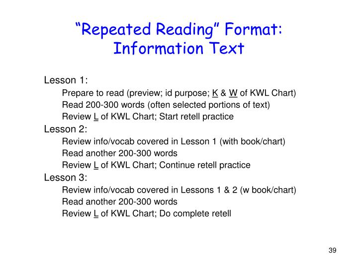 """""""Repeated Reading"""" Format:"""