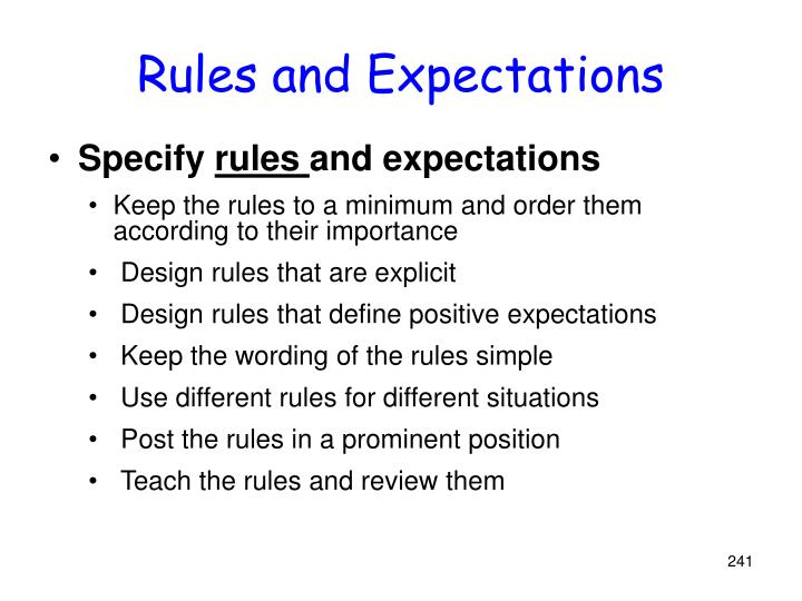 Rules and Expectations