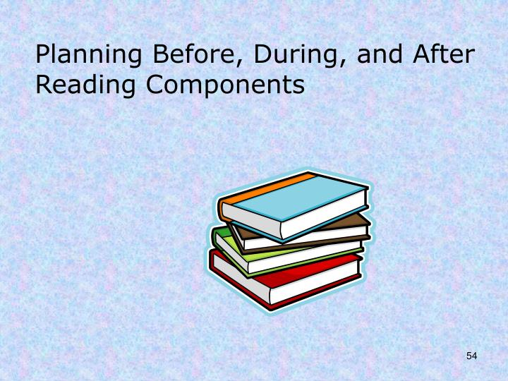 Planning Before, During, and After Reading Components