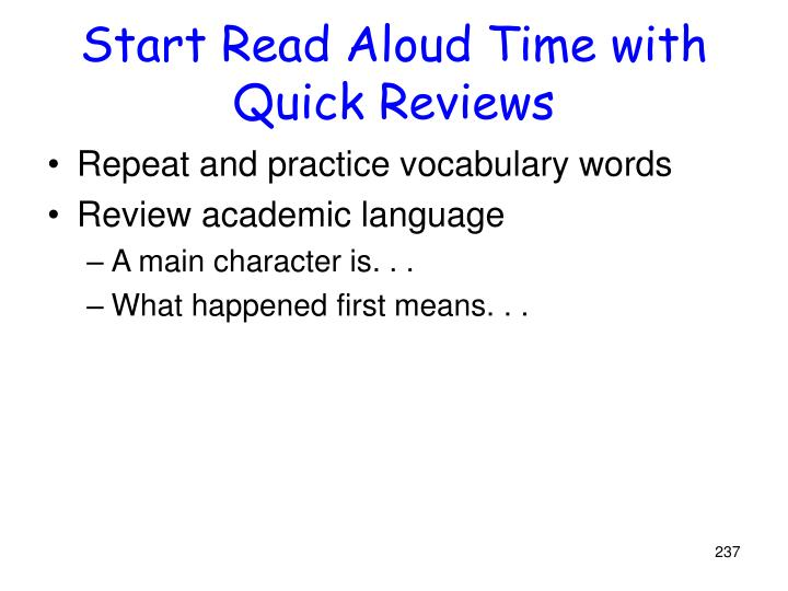 Start Read Aloud Time with Quick Reviews