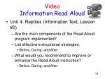 video information read aloud
