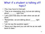 what if a student is talking off topic