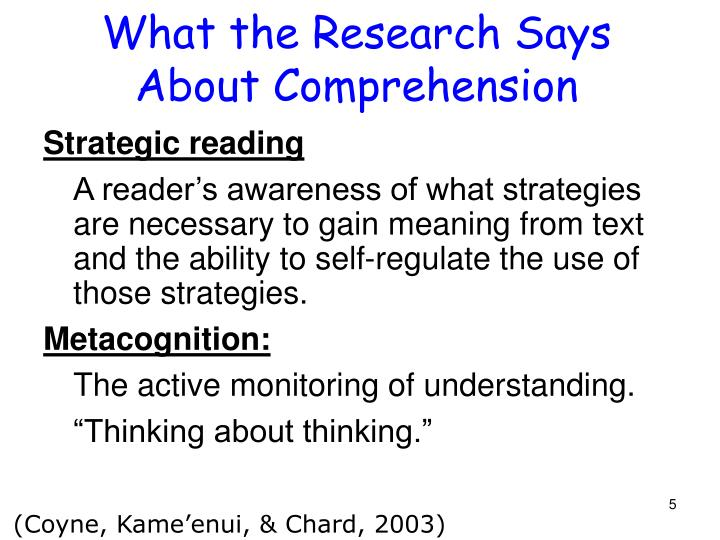What the Research Says About Comprehension