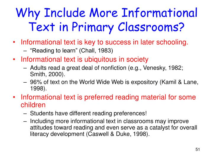 Why Include More Informational Text in Primary Classrooms?