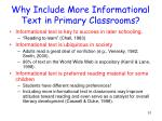 why include more informational text in primary classrooms