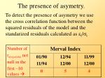 the presence of asymetry