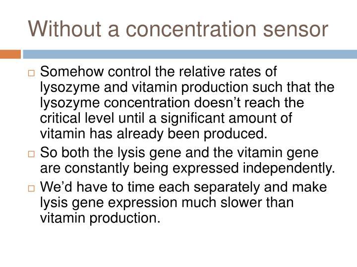 Without a concentration sensor