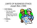 limits of business ethics joseph betz 1999