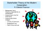 stakeholder theory of the modern corporation r edward freeman