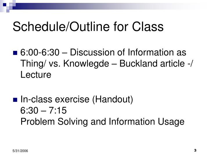 Schedule outline for class