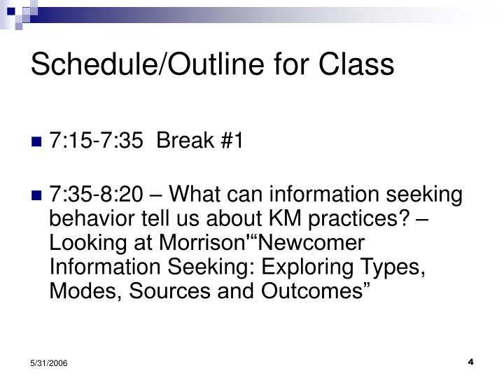 Schedule/Outline for Class