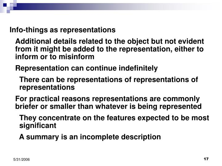 Info-things as representations