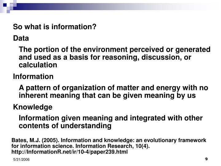 So what is information?