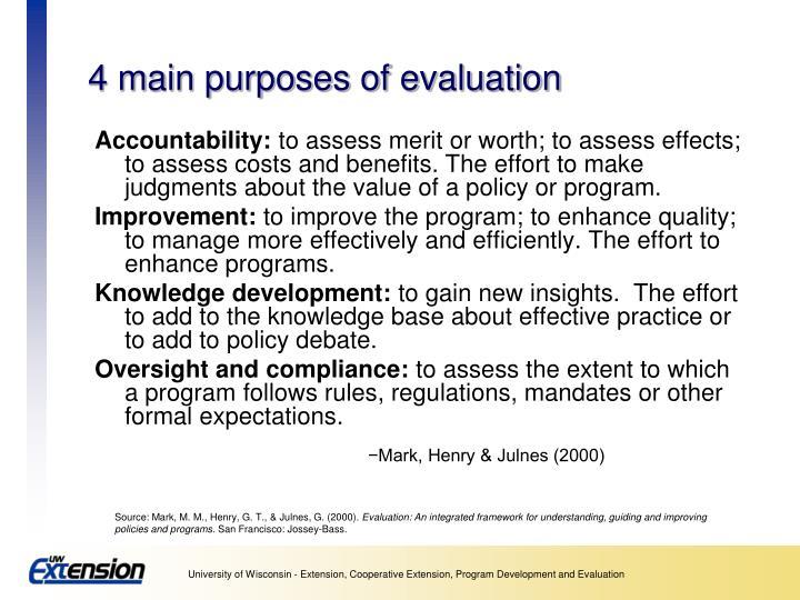 4 main purposes of evaluation
