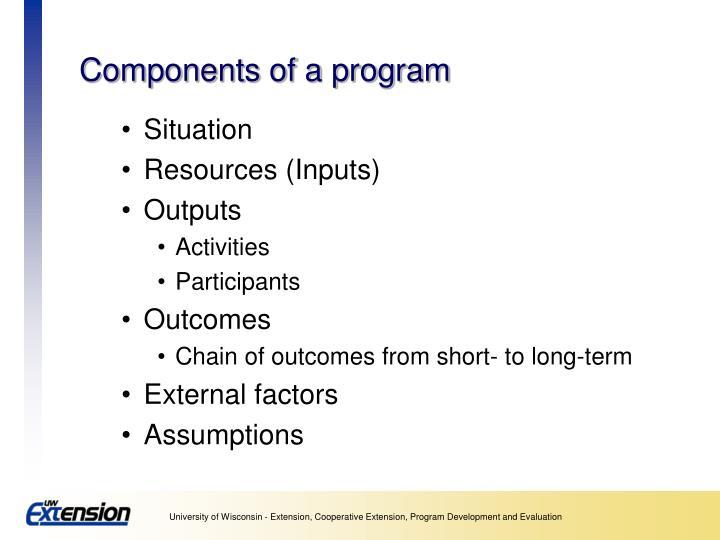 Components of a program