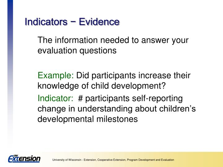 Indicators − Evidence