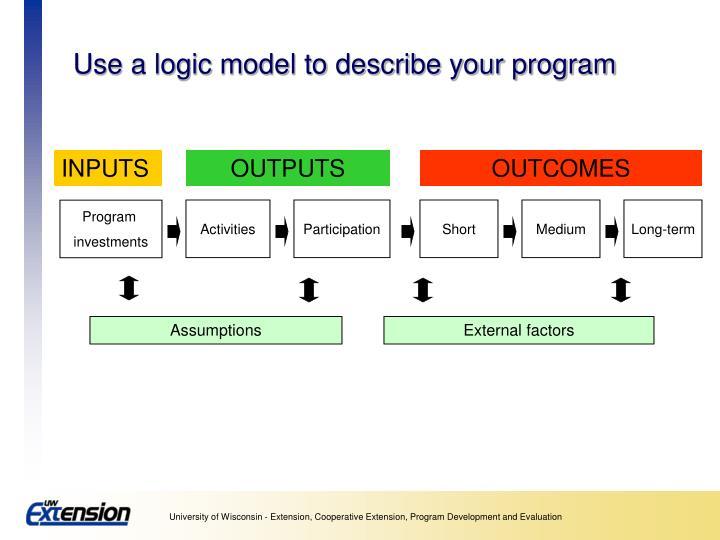 Use a logic model to describe your program