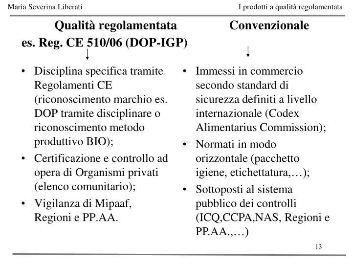 Disciplina specifica tramite Regolamenti CE (riconoscimento marchio es. DOP tramite disciplinare o riconoscimento metodo produttivo BIO);