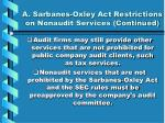 a sarbanes oxley act restrictions on nonaudit services continued