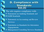 d compliance with standards