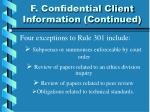 f confidential client information continued