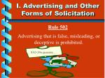i advertising and other forms of solicitation