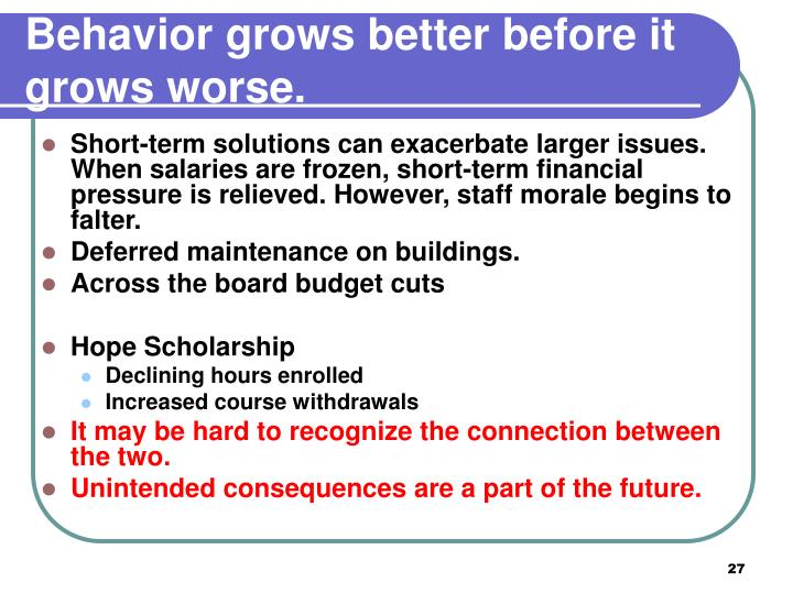 Behavior grows better before it grows worse.