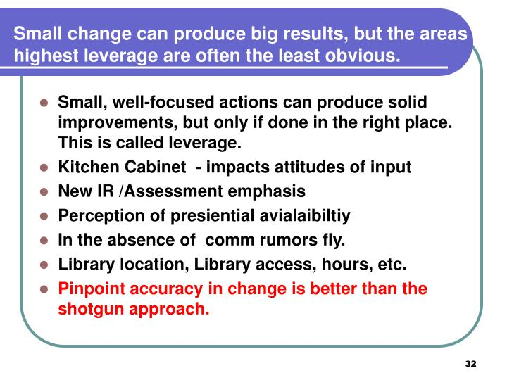 Small change can produce big results, but the areas of highest leverage are often the least obvious.