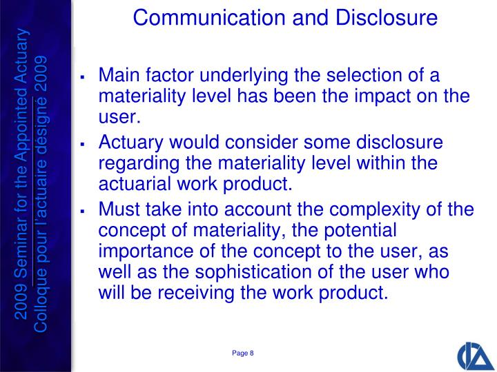 Communication and Disclosure