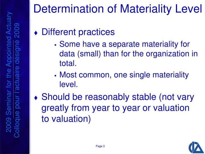 Determination of Materiality Level