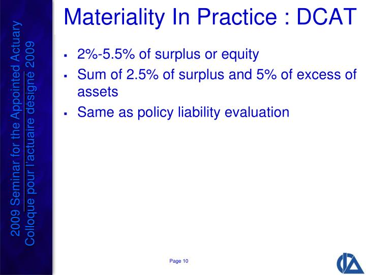 Materiality In Practice : DCAT